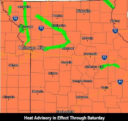 A heat advisory is in effect Friday afternoon and Saturday. (National Weather Service graphic)