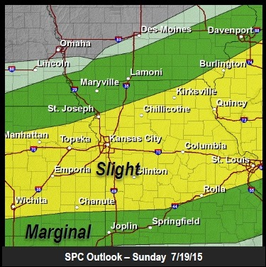 The severe weather outlook shows Wyandotte County is at slight risk for severe storms on Sunday. (National Weather Service graphic)