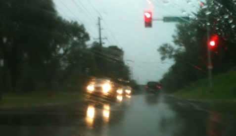 Rain moved through Kansas City, Kan., including this area near Leavenworth Road, about 5 p.m. Tuesday. More showers and storms are possible tonight and Wednesday, according to the National Weather Service.