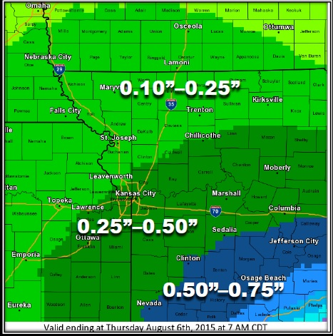 Precipitation forecast today. (National Weather Service graphic)