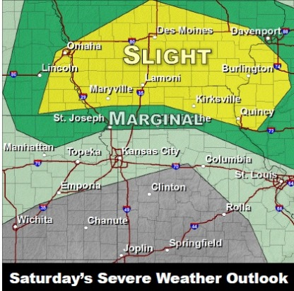 Saturday severe weather outlook. (National Weather Service graphic)
