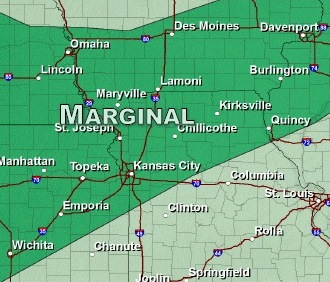 There is a marginal risk of severe weather today in the Kansas City area. (National Weather Service graphic)