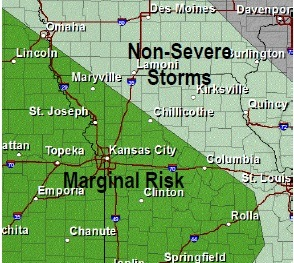 Severe storm risk on Tuesday. (National Weather Service graphic)