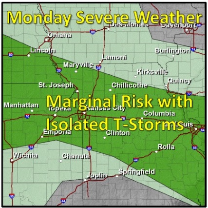 Wyandotte County is under a marginal risk of thunderstorms today, according to the National Weather Service. (National Weather Service graphic)