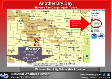 Dry weather conditions continue; increased fire danger in afternoon (National Weather Service graphic)