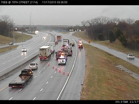 Two right lanes were closed on westbound I-70 near the 78th Street exit as a vehicle was stalled about 9:15 a.m. Tuesday, according to KC Scout. (KC Scout photo)