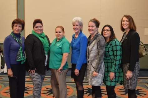 Representatives of the Girl Scouts of Northeast Kansas and Northwest Missouri posed with Kathleen Sebelius after the United Way of Wyandotte County luncheon on Friday, Nov. 20, at the Reardon Convention Center, Kansas City, Kan. (Photo from United Way of Wyandotte County)