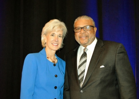 Kathleen Sebelius, left, was the guest speaker at the annual meeting of the United Way of Wyandotte County on Friday, Nov. 20, at the Reardon Convention Center, Kansas City, Kan. Wendell Maddox, president and CEO, United Way of Wyandotte County, is at the right. (Photo from United Way of Wyandotte County)
