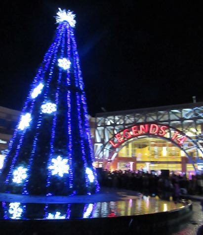 The Legends Outlets' 45-foot holiday tree on Saturday night in Kansas City, Kan. (Staff photo)
