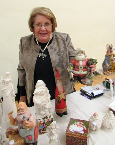 A Kansas statehood porcelain Santa made by Joyce Nickell was on display at the Eisenhower Craft Fair, Kansas City, Kan. (Staff photo)
