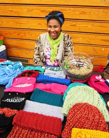 "Lonell ""Friday"" Brown of Kansas City, Kan., who makes crocheted items, was at her first craft fair on Saturday at the Eisenhower Craft Fair, Kansas City, Kan. (Staff photo)"