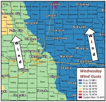 Wednesday wind gusts. (National Weather Service graphic)