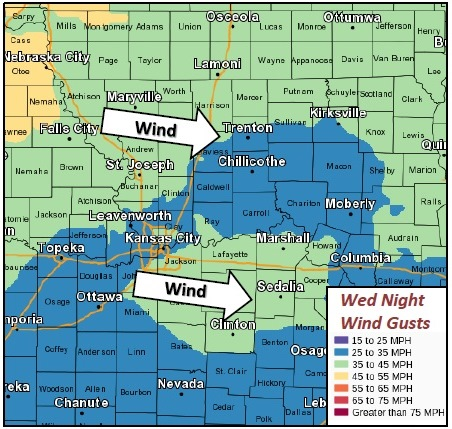 Wednesday night wind gusts. (National Weather Service)