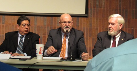 Rep. Stan Frownfelter, center, spoke while Rep. Louis Ruiz, left, and Sen. Steve Fitzgerald, right, listened during a legislative forum Jan. 5 at the West Wyandotte Library, Kansas City, Kan. (Staff photo by Mary Rupert)
