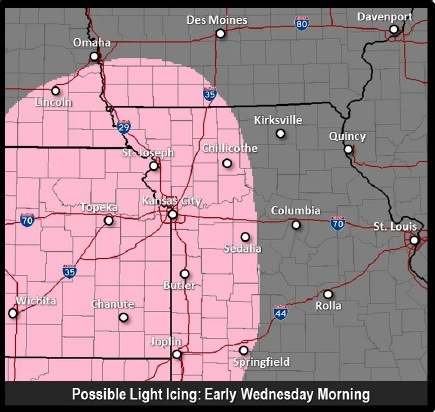 Rain and freezing rain is possible in a wide area today, including Wyandotte County. (National Weather Service graphic)