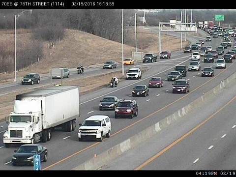 Traffic was reported heavy at I-70 near 78th Street about 4:15 p.m., KC Scout reported. (KC Scout photo)