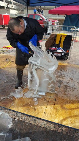 Ice carving was one of the attractions this past weekend as the Greater Kansas City Restaurant Association celebrated its centennial anniversary on Saturday at the Sheraton Kansas City Crown Center Hotel in Kansas City, Mo. (Photo by William Crum)
