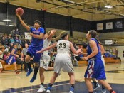 KCKCC's Cheyenne North breaks free for two of her 10 points in a 91-61 loss at No. 1 Johnson County Wednesday. North also had a game high 11 rebounds for her 10th double double of the season. (KCKCC photo by Alan Hoskins)