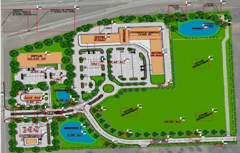 A preliminary artist's rendering of the new Village South development  near I-70 and the Kansas Speedway in Edwardsville, Kan.