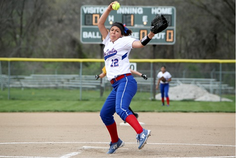 KCKCC sophomore righthander Tiffany Gustin recorded her 15th and 16th wins of the season Thursday as she pitched the Lady Blue Devils to 10-4 and 4-2 wins over Neosho County at Piper. (Photo by Jan Humphreys)