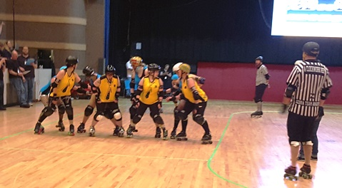 The Black Eyed Susans played the Knockouts in roller derby action Saturday night at Memorial Hall in Kansas City, Kan. (Photo by William Crum)