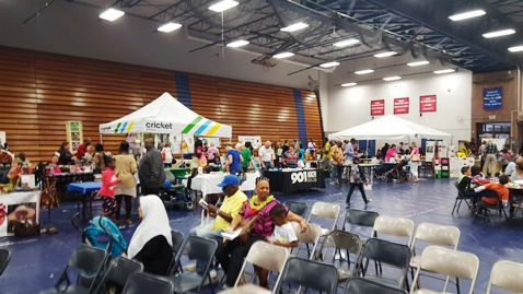Visitors to the Wyandotte County Ethnic Festival on April 16 at Kansas City Kansas Community College listened to music and singers, and watching dancing, as well as visited booths about different cultures. (Photo by William Crum)