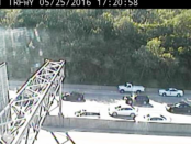 A collision was reported about 5:17 p.m. May 25 on I-35 southbound near 7th Street Trafficway, according to KC Scout. Traffic was stopped, according to KC Scout. (KC Scout photo)