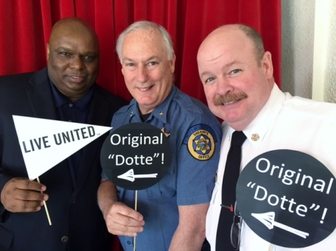 Current and new volunteer campaign chair's Bill Johnson of the Board of Public Utilities and Sheriff Don Ash with Chief John Paul Jones of the Kansas City, Kan., Fire Department. (Photo from United Way of Wyandotte County).
