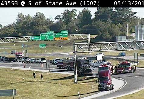 Vehicle fire closes I-435 at State Avenue