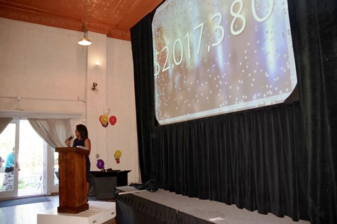Event emcee Mary Pulley, Fox 4 News anchor and UWWC board member, announced campaign accomplishments at the United Way of Wyandotte County's annual campaign celebration event. (Photo from United Way of Wyandotte County)