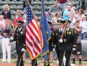 A police honor guard presented the colors, in conjunction with a tribute to Detective Brad Lancaster, at the T-Bones home opener Thursday night at CommunityAmerica Ballpark, Kansas City, Kan.