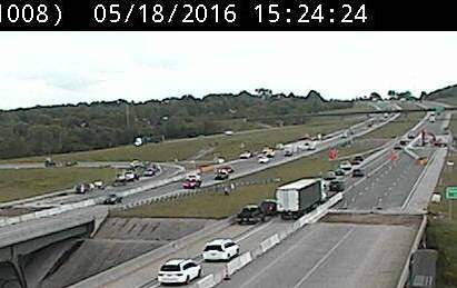 KC Scout is reporting a crash around 3:20 p.m. Wednesday on I-435 southbound at I-70 in Wyandotte County. The left shoulder was closed. (KC Scout photo)