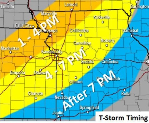 Thunderstorm timing this afternoon. (National Weather Service graphic)