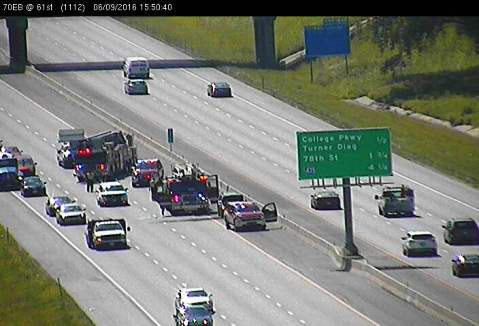 A vehicle fire was reported on I-70 eastbound near 61st Street in Kansas City, Kan., about 3:40 p.m. June 9, according to KC Scout. Two left lanes of I-70 were closed. (KC Scout photo)