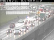 A collision was reported about 2:49 p.m. on I-635 northbound near I-70, according to KC Scout. Heavy rain with a thunderstorm is moving through Wyandotte County. (KC Scout photo)