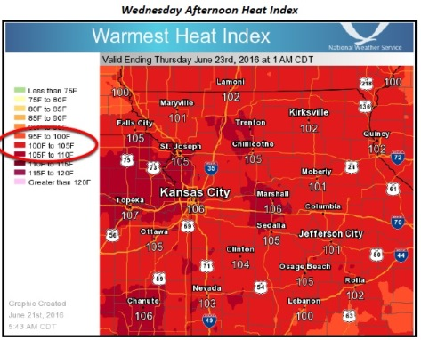 Temperatures on Wednesday could be near 97, with a heat index over 100, according to the National Weather Service. (National Weather Service graphic)