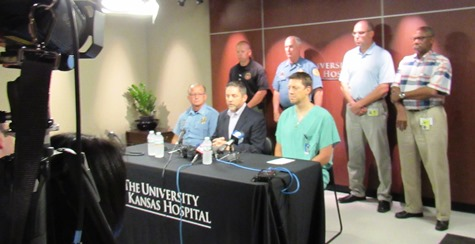 Kansas City, Kan., officials and KU Hospital officials announced at 4 p.m. that Capt. Robert Melton has died. (Staff photo)