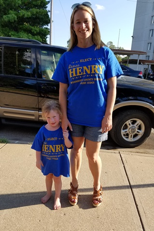 Ellison Henry, left, the junior campaign manager for Renee Henry, right, attended the El Centro rally and voter education event Friday evening at Bethany Park, Kansas City, Kan. (Photo by William Crum)
