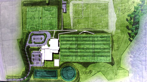 An architect's drawing of the site for the new U.S. Soccer Training Center in Kansas City, Kan.