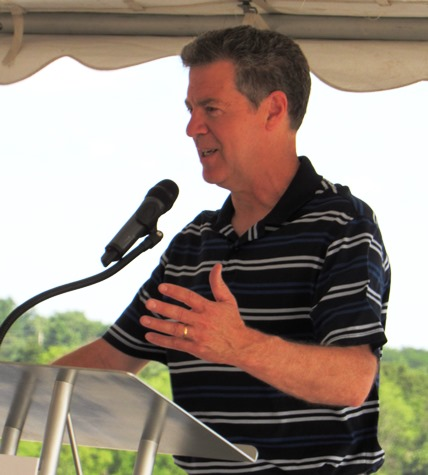 "Gov. Sam Brownback said, ""This area is going to keep building and building strong,""  (Staff photo by Mary Rupert)"