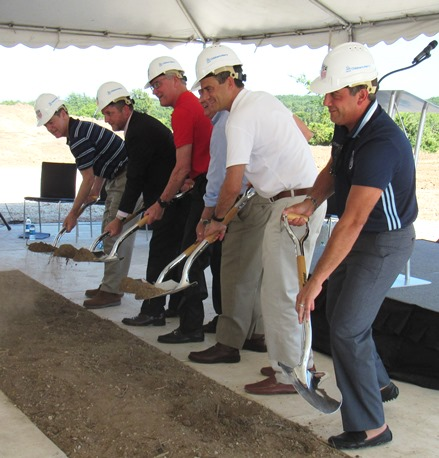Breaking ground for the new U.S. Soccer Training Center at 98th and Parallel Parkway in Kansas City, Kan., on Sunday afternoon were, left to right, Gov. Sam Brownback, Mayor Mark Holland, Dan Flynn of U.S. Soccer; Dr. Randall O'Donnell of Children's Mercy Hospital; U.S. Rep. Kevin Yoder; and Robb Heineman of Sporting Kansas City. (Staff photo by Mary Rupert)