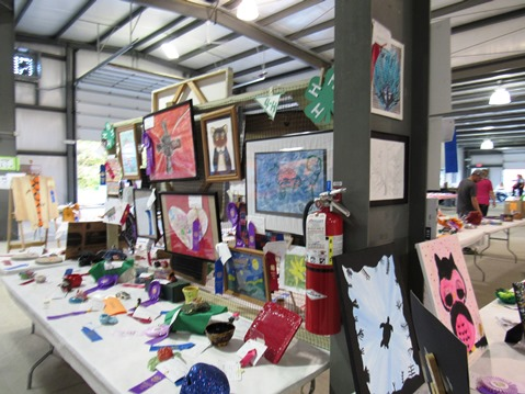 Some 4-H projects were on display in the red barn on Wednesday at the Wyandotte County Fair. (Staff photo by Mary Rupert)