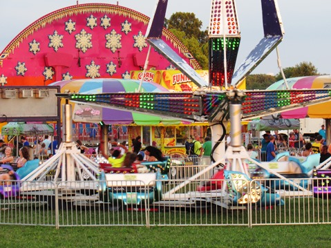 Carnival rides were part of the Wyandotte County Fair on Wednesday night.  The fair continues from noon to 10 p.m. Saturday with the carnival, entertainment, food, animal exhibits and more. (Staff photo by Mary Rupert)