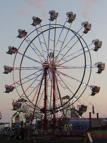 Carnival rides were part of the Wyandotte County Fair on Wednesday night. (Staff photo by Mary Rupert)