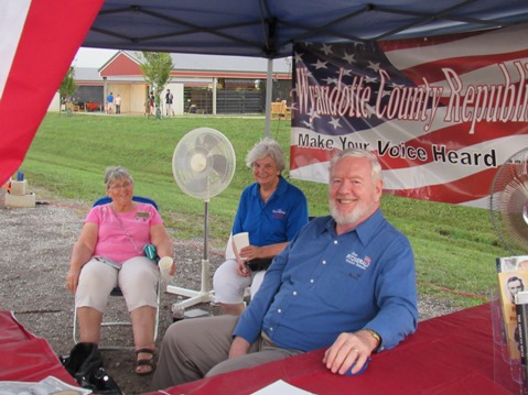 Sen. Steve Fitzgerald, R-5th Dist., was at the GOP booth at the Wyandotte County Fair on Wednesday. (Staff photo by Mary Rupert)