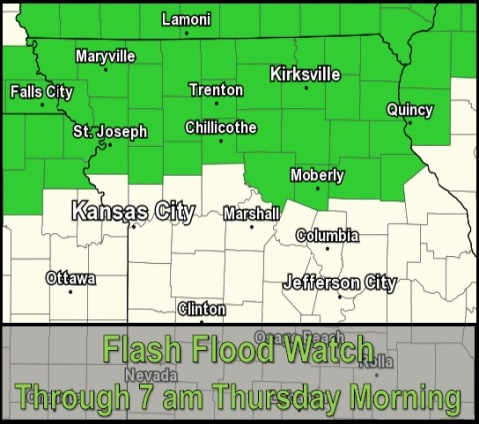 A flash flood watch is in effect through Thursday for an area north of Wyandotte County. (National Weather Service graphic)