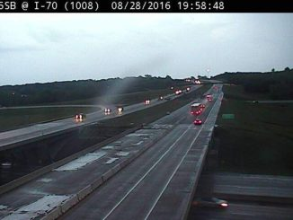 A small thunderstorm was moving through Wyandotte County around 7:45 p.m. Sunday. This view is I-70 near I-435 in Kansas City, Kan. (KC Scout photo)