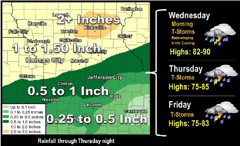 Rainfall through Thursday night. (National Weather Service graphic)