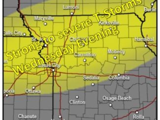 Storms are possible Wednesday evening in Wyandotte County. (National Weather Service graphic)