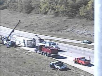 Northbound I-635 to westbound I-70 ramp and two lanes of westbound I-70 were closed this afternoon because of an overturned semi, according to the Kansas Department of Transportation. Motorists were advised to use alternate routes. The crash was reported about noon. (KC Scout photo)